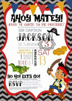 Jake & the Neverland Pirates birthday party invitation idea