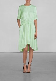 And Other Stories | Drawstring Viscose Dress | Light green