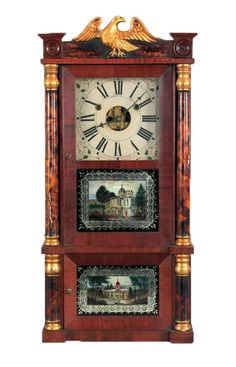 Forestville Manufacturing Co,shelf clock,early 19th c (This clock is stunning with the tortoiseshell glazed columns)