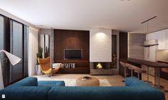salon z kominkiem - zdjęcie od Finchstudio Architektura Wnętrz - Salon - Styl Nowoczesny - Finchstudio Architektura Wnętrz