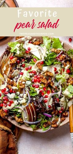 Pear Salad with candied walnuts pomegranate red onion crumbled blue cheese and a simple roasted pear vinaigrette. This festive pear salad is perfect for the holiday months. Christmas New Year and every holiday gathering. Try and save this pin! Chicken Salad Recipes, Easy Salads, Healthy Salad Recipes, Raw Food Recipes, Healthy Snacks, Cooking Recipes, Cooking Tips, Pear Recipes, Soup And Salad