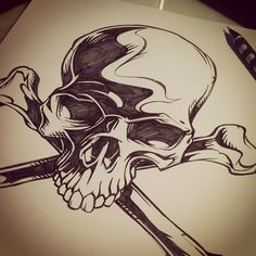 30 min skull drawing by sweyda