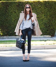 Fall winter outfit: camel pea coat + leather skinnies + grey sweatshirt