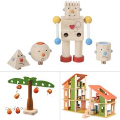 Visit AMAMILLO.com By manufacturing toys from preservative-free rubberwood and following a sustainable approach, PlanToys has become well-known for its green, eco-friendly products. An added bonus: the website organizes the toys based on age group, function, and child-development skills. Our picks:  Build-a-Robot ($20) Balancing Monkeys ($23) Chalet Dollhouse ($230)