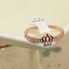 Elegant Rose Gold Plated Finger Ring, with Micro Pave AAA Zircon Crown Findings, Rose Gold