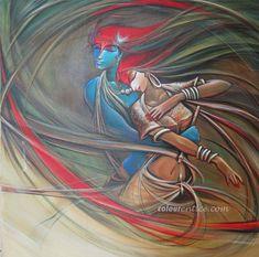 Buy Paintings Online by Artist Manoj Das - Radha Krishna - Mural Painting, Mural Art, Figure Painting, Art Forms Of India, India Art, Krishna Painting, Krishna Art, Lord Krishna, Buy Paintings Online