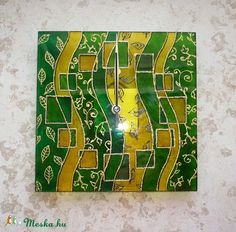 Zöld leveles egyedi festett üvegóra, Dekoráció, Otthon, lakberendezés, Falióra, Meska