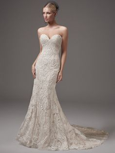 Sottero and Midgley by Maggie Sottero This alluring fit-and-flare features striking lace motifs, a low back, and a sexy sweetheart neckline accented with a shimmer of sequins an Fit And Flare Wedding Dress, Perfect Wedding Dress, Wedding Dress Styles, Designer Wedding Dresses, Bridal Dresses, Wedding Gowns, Lace Wedding, Bridal Collection, Dress Collection