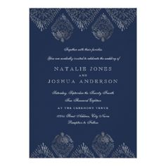 Silver Navy Antique Lace Wedding Invitation - wedding invitations diy cyo special idea personalize card