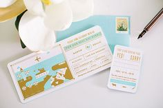 Oh So Beautiful Paper: Huilin + Martin's Gold Foil Boarding Pass Wedding Invitations