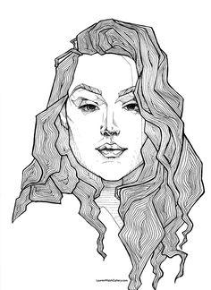 Self portrait Micron pen on paper Lauren Walsh  LaurenWalshGallery.com
