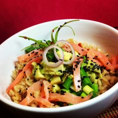 Smoked Salmon Avocado Rice Bowl In Minutes - healthy and under 400 calories - pair it with a riesling :)