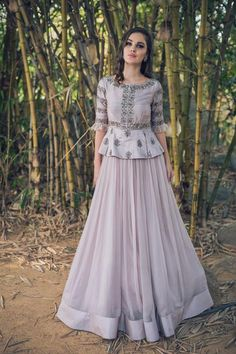 Peplum Lehenga Styles. Beautiful lavender embroidered peplum lehenga set. #Frugal2Fab