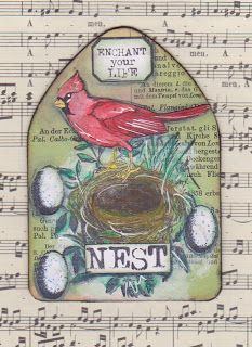 Red cardinal nest on music book page - for Red Lead Paperworks