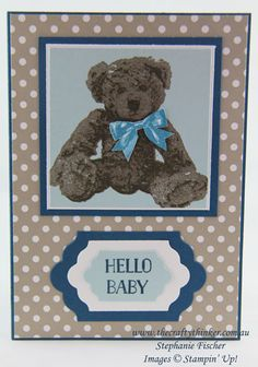 Stampin Up, #thecraftythinker, Baby Card, Baby Bear, 3-step card