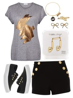 """""""Golden Black"""" by nazarethperezstar ❤ liked on Polyvore featuring Paul by Paul Smith, Boutique Moschino, Alex and Ani, Happy Plugs, Bling Jewelry, Aéropostale and Vans"""