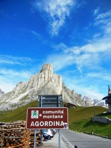 Passo Giau  driving or cycling through dolomites