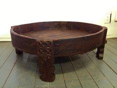 Antique Teak Coffee Table Grinder Grain Chakki 1800s Rustic India