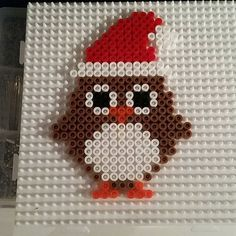 Christmas owl perler beads from – Famous Last Words Quilting Beads Patterns Melty Bead Patterns, Pearler Bead Patterns, Perler Patterns, Beading Patterns, Quilt Patterns, Hama Beads Design, Diy Perler Beads, Perler Bead Art, Owl Perler