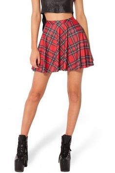 Red Plaid Print Flared Skirt | Psychedelic Monk