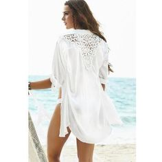 Lovely White Chiffon Crochet Trim Swimsuit Beach Cover Up One Size