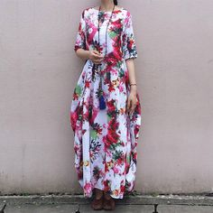 Womens Folk Retro Loose Fitting Printed Floral Cotton Linen Long Robe With Pockets, Womens Loose Fitting Casual Dresses, White Red Dresses