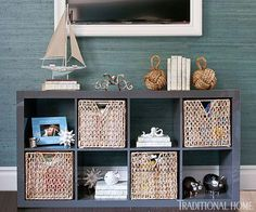 An Ikea shelving unit corrals baskets that store children's books. | Tour Bill and Giuliana Rancic's first Los Angeles home.