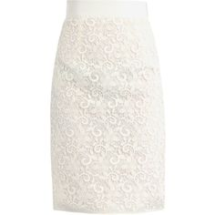 GIAMBATTISTA VALLI Lace pencil skirt ($659) ❤ liked on Polyvore featuring skirts, bottoms, saias, giambattista valli, white skirt, floral pencil skirt, floral skirt and floral print skirt
