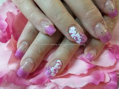 Glitter overlay with one stroke flower nail art