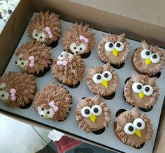 Hedgehogs and owls cupcakes - Cake Decorating Cupcake Ideen Cupcakes Design, Owl Cupcakes, Fancy Cupcakes, Animal Cupcakes, Yummy Cupcakes, Cupcake Cookies, Hedgehog Cupcake, Dessert Decoration, Cake Decorating Techniques