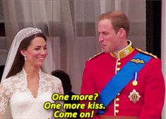 """cambridge-inspiration: """" Gifset in honour of the fifth wedding anniversary of William and Catherine (3/5): the Balcony kiss. """"Shortly after the Royal party had arrived at Buckingham Palace, William and Catherine made an appearance on the Palace..."""