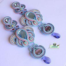 Extra long Soutache Earrings - Tanzanite - Swarovski