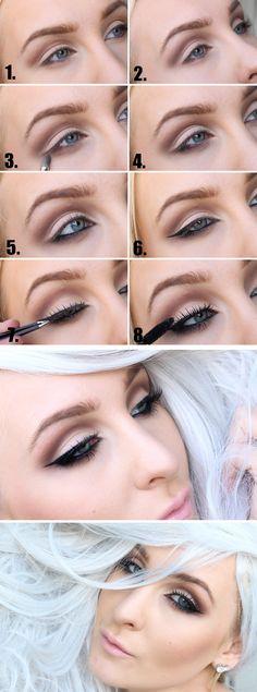 Här kommer tutorialen på gårdagens makeup, Älskar den! Du behöver: Brun, beige, svart ögonskugga, svart kajal, eyeliner och mascara. Lösögonfransar. Gör så här: 1. Applicera den bruna ögonskuggan i...