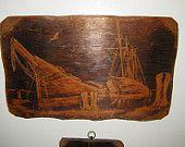 Large Hand Carved Schooner on Barn Board