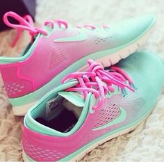 shoes pink and turquoise nike shoes  LOVE
