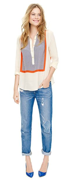 J Crew scarf blouse - would likethis inan embroidered placket.
