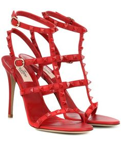 9ae04d1f35f0 Valentino - Red Rockstud Leather Sandals - Lyst