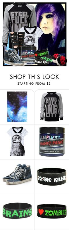 """""""†"""" by vvannaone ❤ liked on Polyvore featuring Boohoo, Manic Panic NYC, Golden Goose and Goodie Two Sleeves"""
