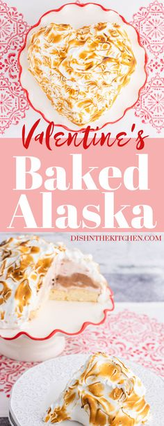 Baked Alaska combines layers of your favourite ice cream with spongy cake. Then, it's smothered in a dreamy caramelized meringue layer for an extra special Valentine's or special holiday treat. #BakedAlaska #IceCreamCake #Dessert #ValentinesDay Healthy Dessert Recipes, Fun Desserts, Vegetarian Desserts, Healthy Sweets, Delicious Recipes, Healthy Cheesecake, Healthy Cake, Valentines Day Desserts, Valentine Treats
