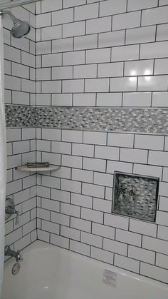 White subway tile shower with black accents, black & white mosaics ...
