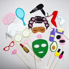 Gather up your ladies for a spa party to remember!  Face mask Rollers Blower Bubbles Perfume Lotion Avocado Nail clipper Stiletto Mirror Lips(3) Lipstick Spa party sign Head towel Cucumbers Nail polish(2)  All my photo booth props are made by hand in my studio with layers of premium smooth cardstock and securely mounted on a wooden stick. They are delivered fully assembled!   ♤All items are made to order and require 2-5 days production time unless otherwise listed. Please indicate date ne...