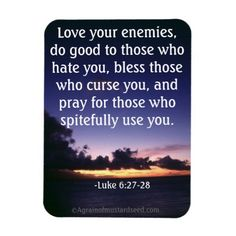 Love your enemies Bible Quotes Rectangular Magnets Keep a steady flow of God's word in your life, shop Agrainofmustardseed.com for your Christian gift giving needs