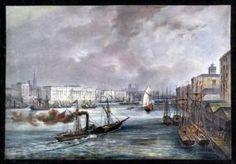 LONDON. Blick über die Themse auf die Bebauung am Ufer, dahinter der Tower, Altkol. Lithographie, um 1860.