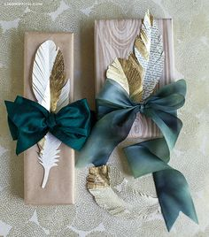 Paper Feathers in Gold