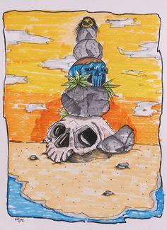 Heathen.  #sketch #skull #ink #illustration #coloring #copic #heathen Dark Artwork, Copic, Horror, Coloring, Sketch, Skull, Ink, Illustration, Painting