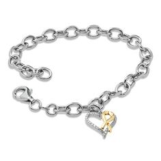 Links to Zales online store. Other jewelry available.   I changed my mind, I want this bracelet more!!  Hero Hearts Diamond Accent Heart-Shaped Charm Bracelet in Sterling Silver and 10K Gold Plate - Zales