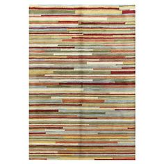 Anchor your living room seating group or define space in the den with this artfully hand-tufted wool rug, featuring multicolor stripes for eye-catching appea...