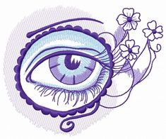 Eye in circle and flowers machine embroidery design #blue #flower #purple #circle #violet #decoration #eye #tattoo #eyelashes #eyebrow #embroidery