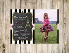 Paris Birthday Photo Invitation Printable Chalkboard Pink Gold Glitter White Digital Favorites Likes Loves Eiffel Tower French theme Sparkle by clsprints on Etsy