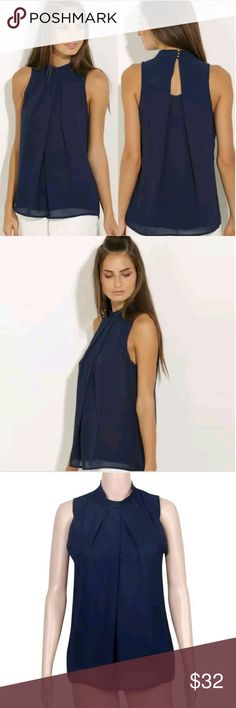 Navy Chiffon Tank Top Navy Chiffon Tank Top with 3 Gold Buttons on the Neck.   This is NWOT Retail. Price Firm Unless Bundled.  Measurements Available Upon Request. Tops Tank Tops
